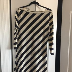 Tory Burch asymmetrical stripe cotton dress